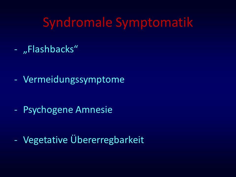 "Syndromale Symptomatik -""Flashbacks"" -Vermeidungssymptome -Psychogene Amnesie -Vegetative Übererregbarkeit"