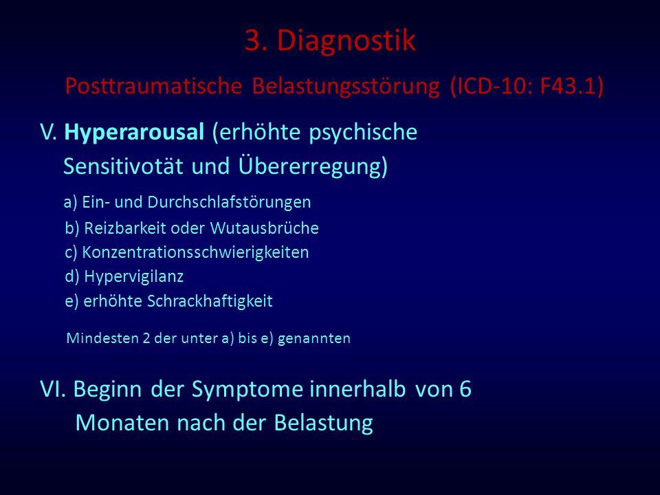 3. Diagnostik Posttraumatische Belastungsstörung (ICD-10: F43.1) V. Hyperarousal (erhöhte psychische Sensitivotät und Übererregung) a) Ein- und Durchs