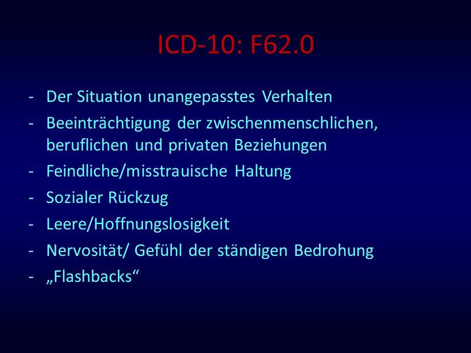 ICD-10: F62.0 -Der Situation unangepasstes Verhalten -Beeinträchtigung der zwischenmenschlichen, beruflichen und privaten Beziehungen -Feindliche/miss