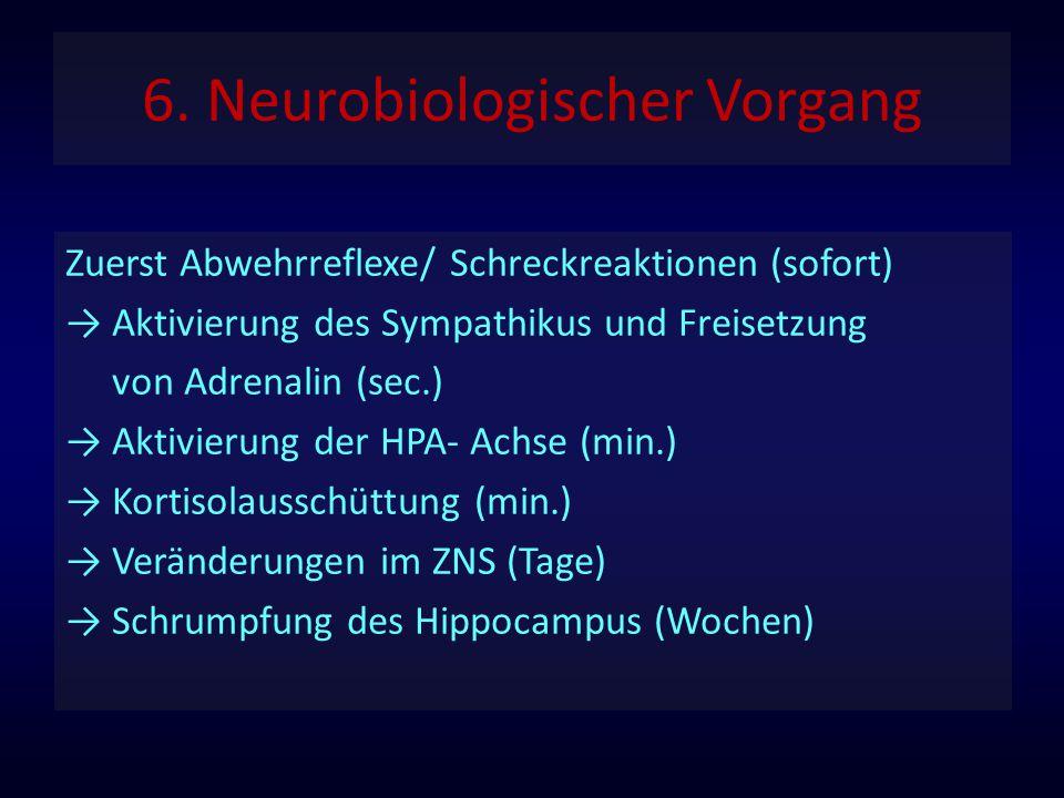 6. Neurobiologischer Vorgang Zuerst Abwehrreflexe/ Schreckreaktionen (sofort) → Aktivierung des Sympathikus und Freisetzung von Adrenalin (sec.) → Akt