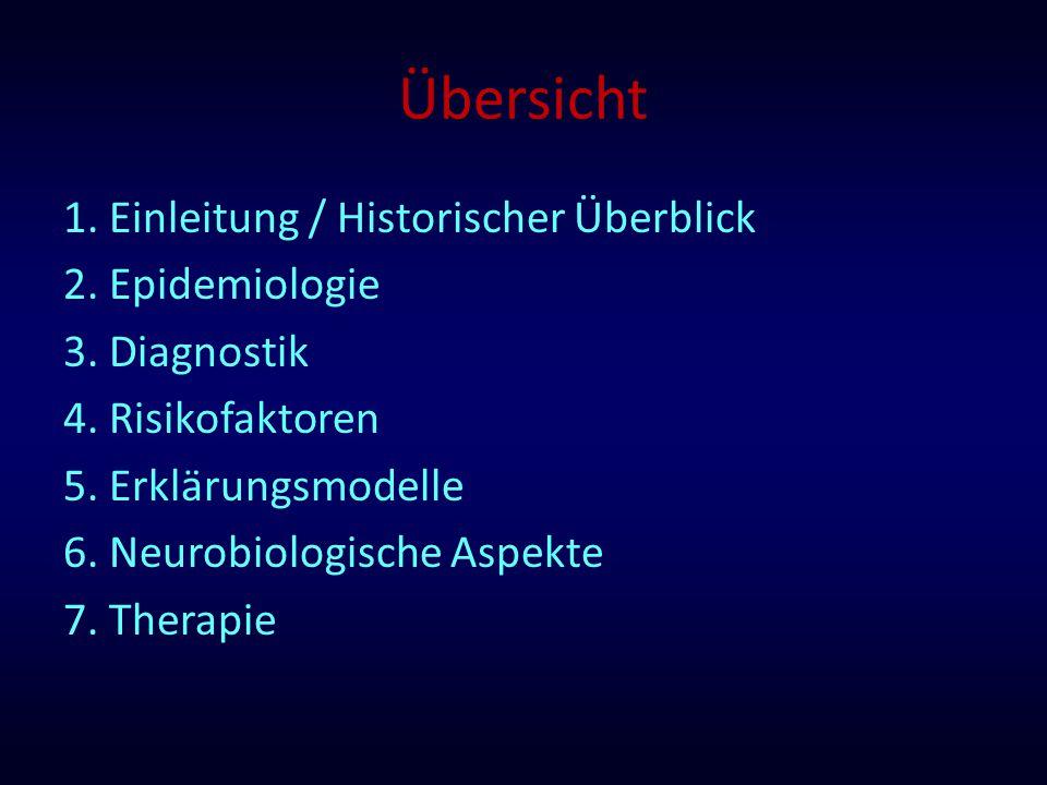 Übersicht 1. Einleitung / Historischer Überblick 2. Epidemiologie 3. Diagnostik 4. Risikofaktoren 5. Erklärungsmodelle 6. Neurobiologische Aspekte 7.