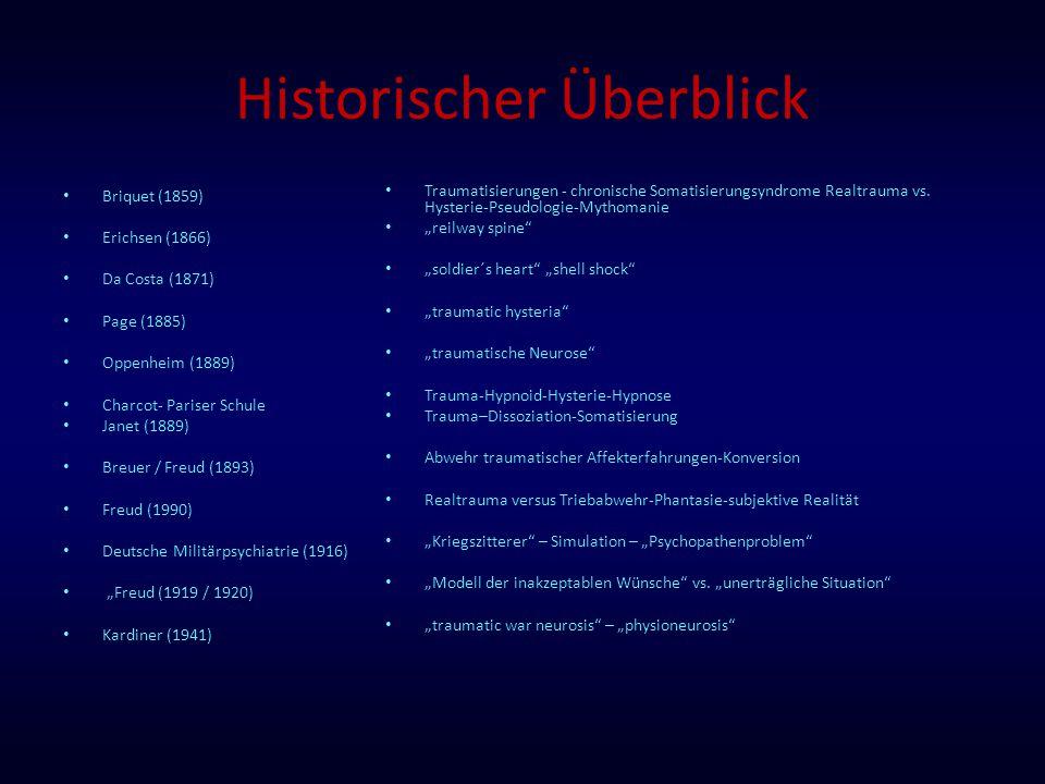 Historischer Überblick Briquet (1859) Erichsen (1866) Da Costa (1871) Page (1885) Oppenheim (1889) Charcot- Pariser Schule Janet (1889) Breuer / Freud
