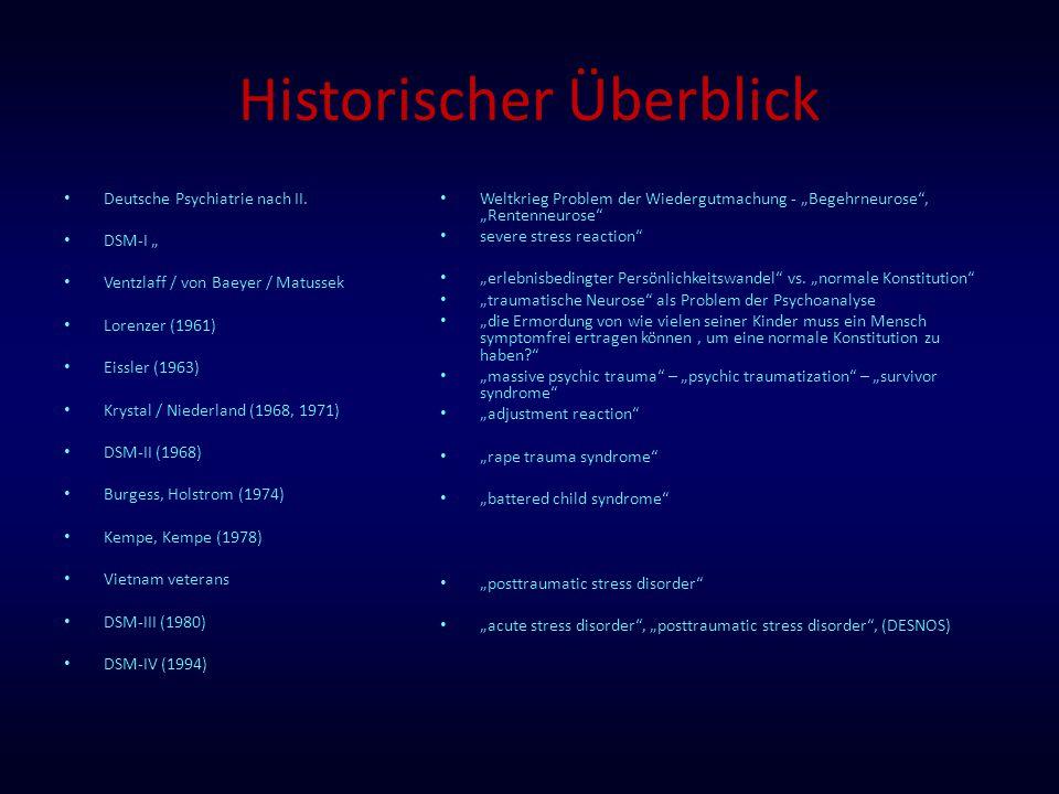 """Historischer Überblick Deutsche Psychiatrie nach II. DSM-I """" Ventzlaff / von Baeyer / Matussek Lorenzer (1961) Eissler (1963) Krystal / Niederland (19"""