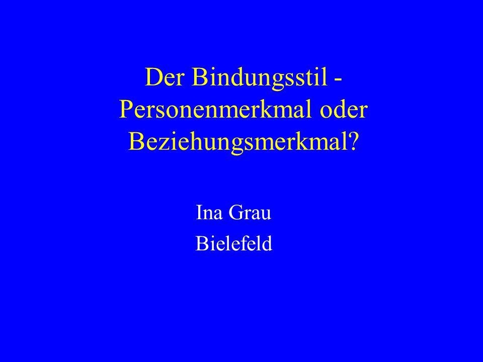 Der Bindungsstil - Personenmerkmal oder Beziehungsmerkmal? Ina Grau Bielefeld