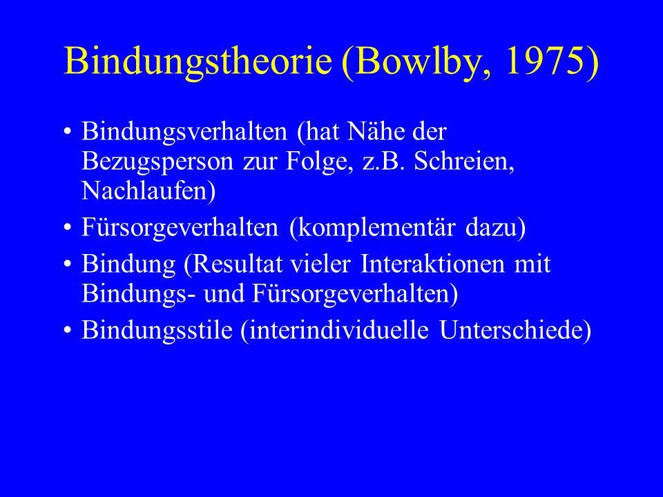 Bindungstheorie (Bowlby, 1975) Bindungsverhalten (hat Nähe der Bezugsperson zur Folge, z.B. Schreien, Nachlaufen) Fürsorgeverhalten (komplementär dazu