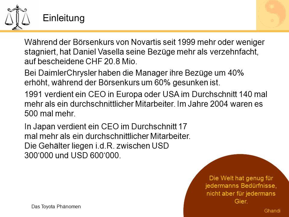 Einleitung Während der Börsenkurs von Novartis seit 1999 mehr oder weniger stagniert, hat Daniel Vasella seine Bezüge mehr als verzehnfacht, auf besch