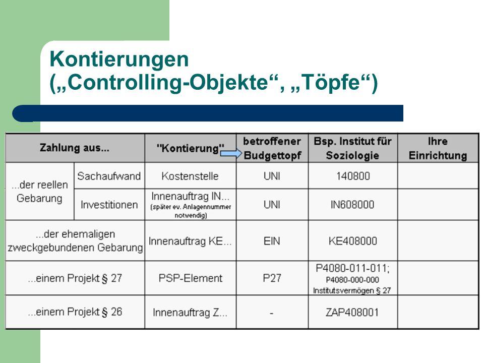 "Kontierungen (""Controlling-Objekte"", ""Töpfe"")"