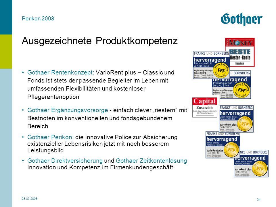 Perikon 2008 25.03.2008 34 Ausgezeichnete Produktkompetenz Gothaer Rentenkonzept: VarioRent plus – Classic und Fonds ist stets der passende Begleiter