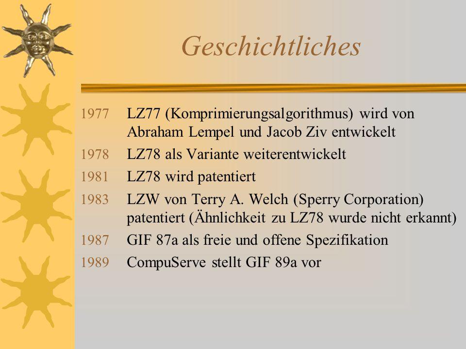 Geschichtliches 1977 LZ77 (Komprimierungsalgorithmus) wird von Abraham Lempel und Jacob Ziv entwickelt 1978 LZ78 als Variante weiterentwickelt 1981 LZ78 wird patentiert 1983 LZW von Terry A.