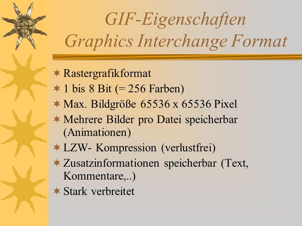 GIF-Eigenschaften Graphics Interchange Format  Rastergrafikformat  1 bis 8 Bit (= 256 Farben)  Max.