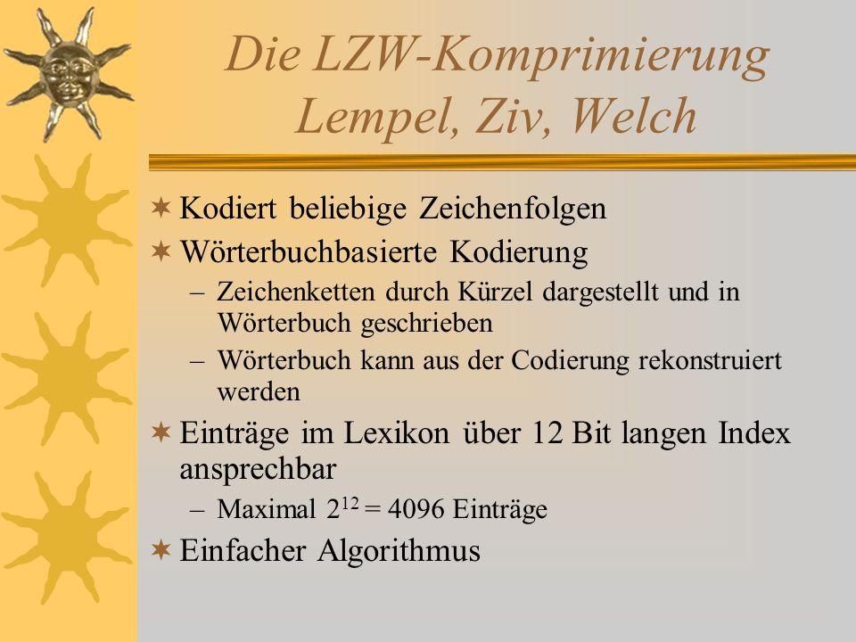 Die LZW-Komprimierung Lempel, Ziv, Welch  Kodiert beliebige Zeichenfolgen  Wörterbuchbasierte Kodierung –Zeichenketten durch Kürzel dargestellt und in Wörterbuch geschrieben –Wörterbuch kann aus der Codierung rekonstruiert werden  Einträge im Lexikon über 12 Bit langen Index ansprechbar –Maximal 2 12 = 4096 Einträge  Einfacher Algorithmus