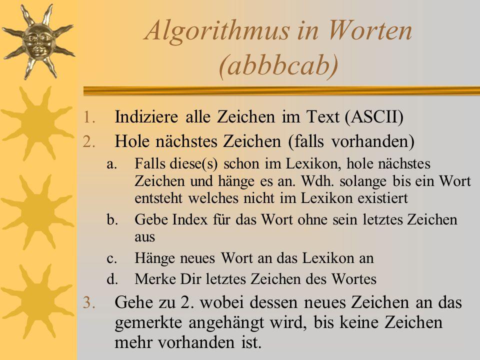 Algorithmus in Worten (abbbcab) 1.Indiziere alle Zeichen im Text (ASCII) 2.