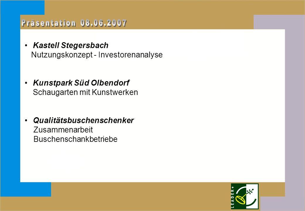 Kastell Stegersbach Nutzungskonzept - Investorenanalyse Kunstpark Süd Olbendorf Schaugarten mit Kunstwerken Qualitätsbuschenschenker Zusammenarbeit Buschenschankbetriebe