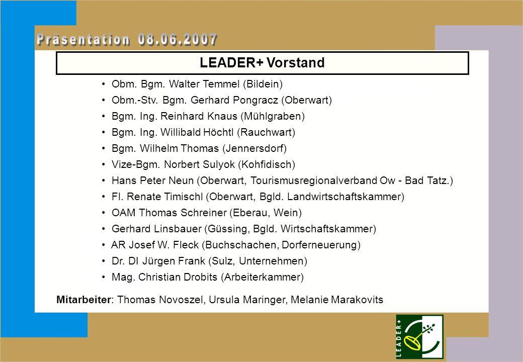 LEADER+ Vorstand Obm. Bgm. Walter Temmel (Bildein) Obm.-Stv.