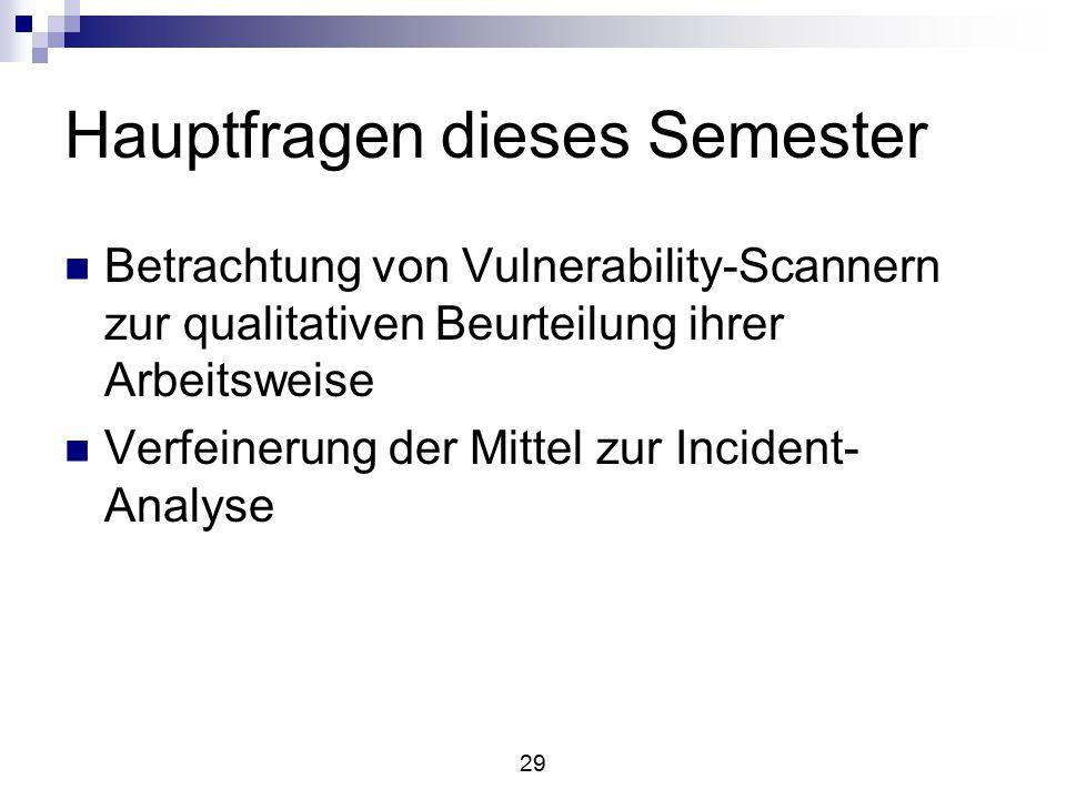 29 Hauptfragen dieses Semester Betrachtung von Vulnerability-Scannern zur qualitativen Beurteilung ihrer Arbeitsweise Verfeinerung der Mittel zur Incident- Analyse