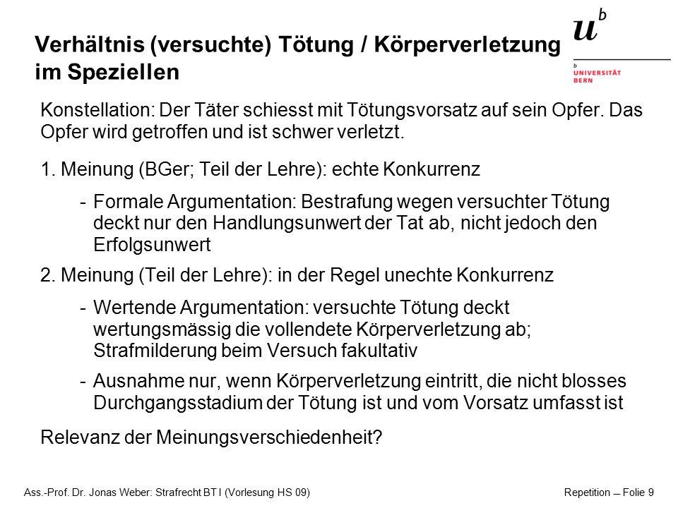 Ass.-Prof. Dr. Jonas Weber: Strafrecht BT I (Vorlesung HS 09) Repetition  Folie 9 Verhältnis (versuchte) Tötung / Körperverletzung im Speziellen Kons