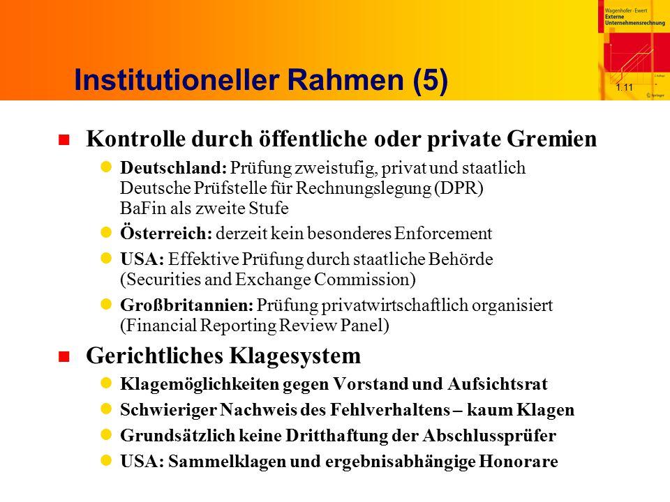 1.11 Institutioneller Rahmen (5) n Kontrolle durch öffentliche oder private Gremien Deutschland: Prüfung zweistufig, privat und staatlich Deutsche Prü