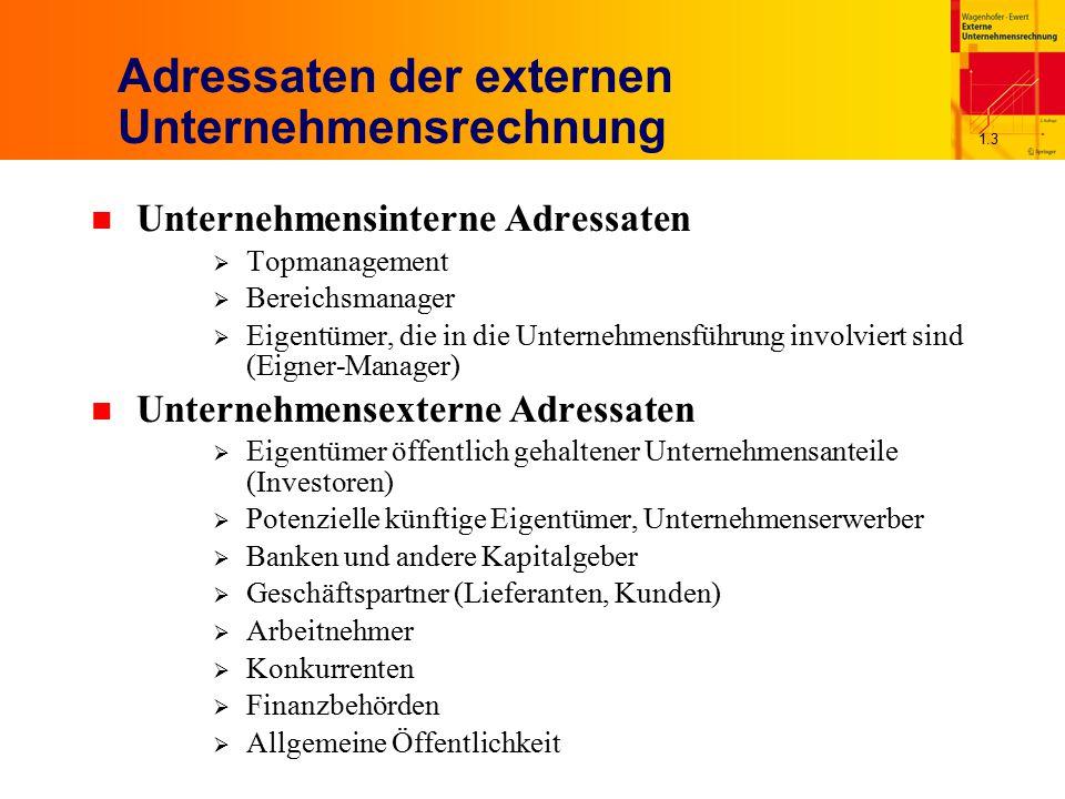 1.3 Adressaten der externen Unternehmensrechnung n Unternehmensinterne Adressaten  Topmanagement  Bereichsmanager  Eigentümer, die in die Unternehm