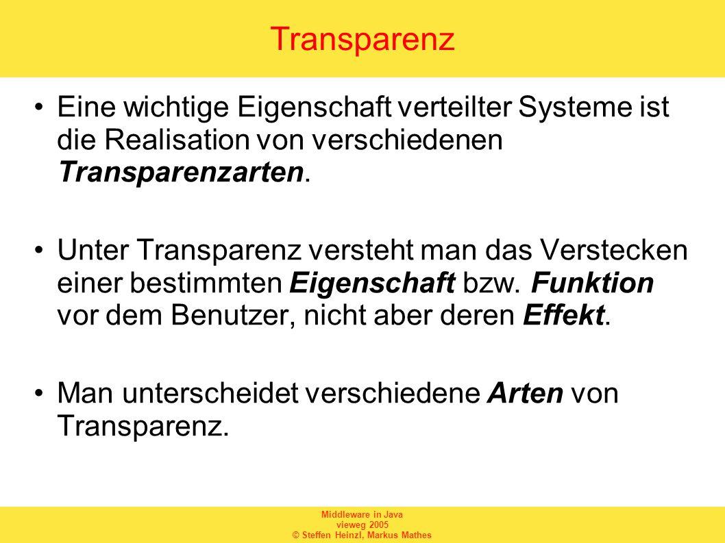 Middleware in Java vieweg 2005 © Steffen Heinzl, Markus Mathes Transparenz Eine wichtige Eigenschaft verteilter Systeme ist die Realisation von verschiedenen Transparenzarten.