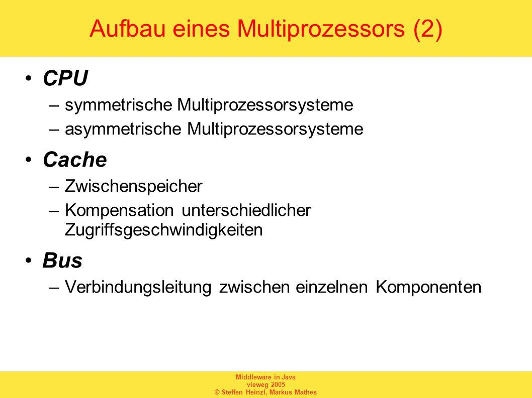 Middleware in Java vieweg 2005 © Steffen Heinzl, Markus Mathes Aufbau eines Multiprozessors (3) Arbitrator –regelt Zugriff auf gemeinsamen Bus Speicher –Ablegen von Daten –Interprozesskommunikation