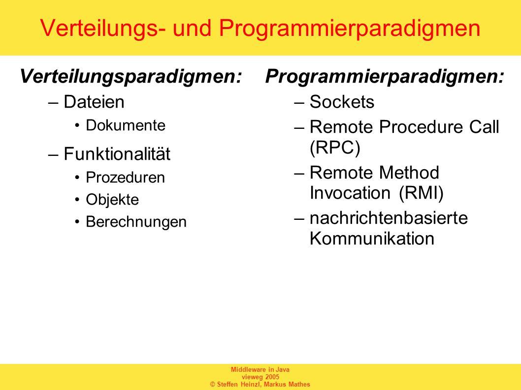 Middleware in Java vieweg 2005 © Steffen Heinzl, Markus Mathes Verteilungs- und Programmierparadigmen Verteilungsparadigmen: –Dateien Dokumente –Funkt