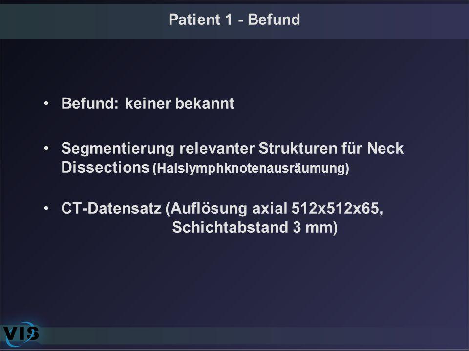 Patient 1 - Befund Befund: keiner bekannt Segmentierung relevanter Strukturen für Neck Dissections (Halslymphknotenausräumung) CT-Datensatz (Auflösung