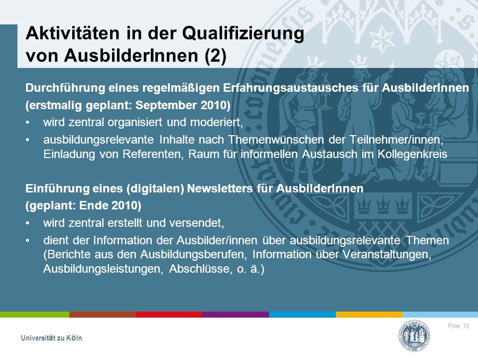 Folie: 13 Universität zu Köln Aktivitäten in der Qualifizierung von AusbilderInnen (2) Durchführung eines regelmäßigen Erfahrungsaustausches für Ausbi