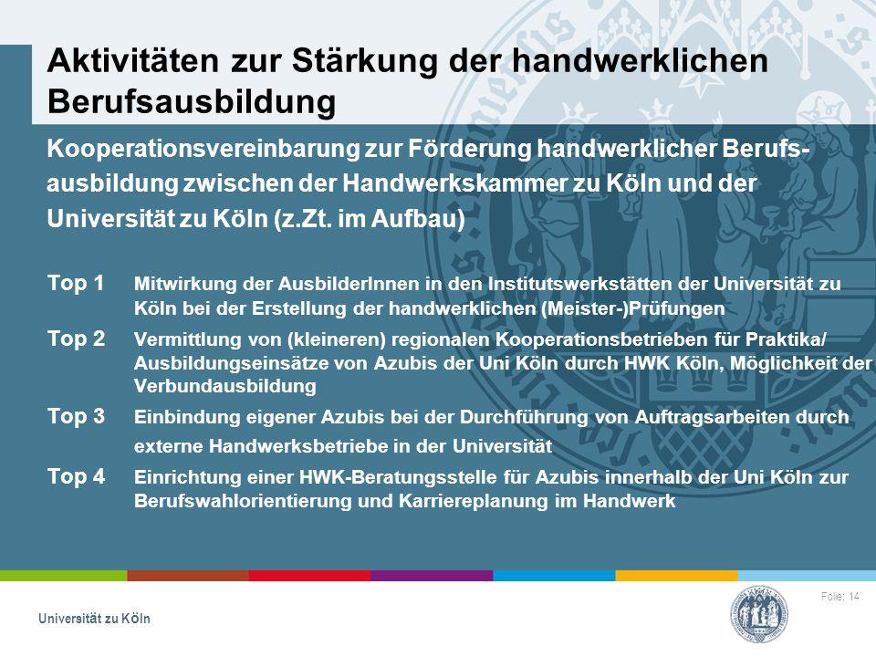 Folie: 14 Universität zu Köln Aktivitäten zur Stärkung der handwerklichen Berufsausbildung Kooperationsvereinbarung zur Förderung handwerklicher Beruf