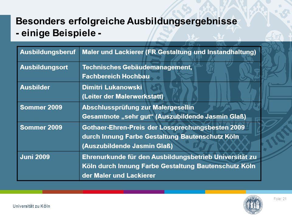 Folie: 21 Universität zu Köln Besonders erfolgreiche Ausbildungsergebnisse - einige Beispiele - AusbildungsberufMaler und Lackierer (FR Gestaltung und
