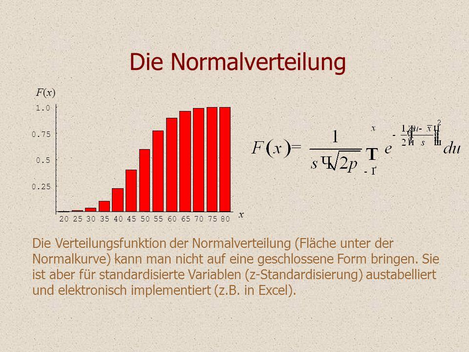 Die Normalverteilung Die Verteilungsfunktion der Normalverteilung (Fläche unter der Normalkurve) kann man nicht auf eine geschlossene Form bringen. Si