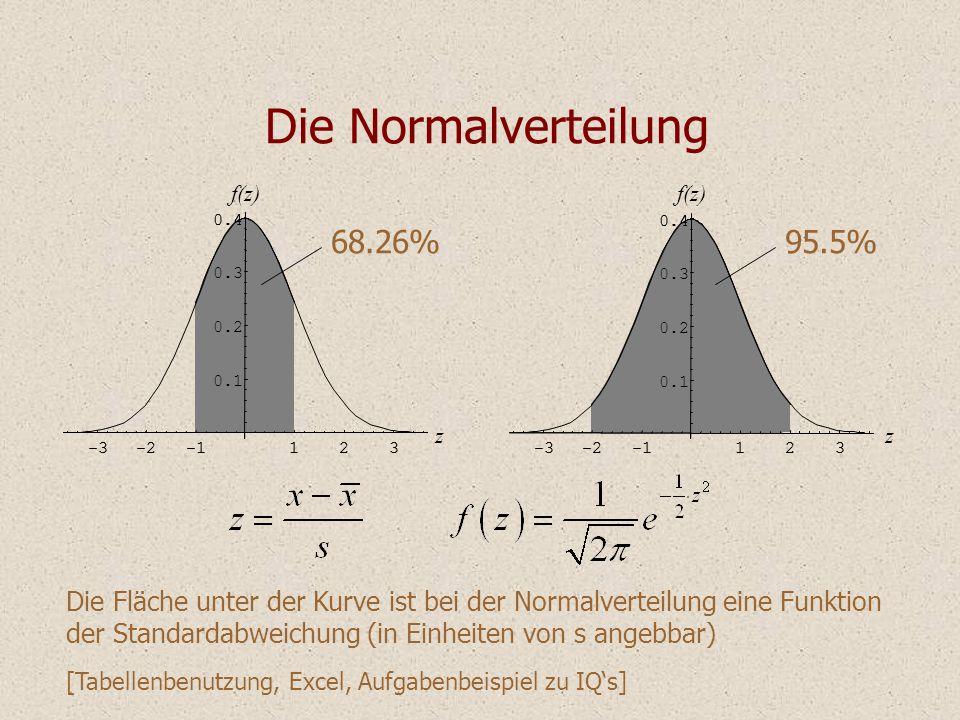 Die Normalverteilung Die Fläche unter der Kurve ist bei der Normalverteilung eine Funktion der Standardabweichung (in Einheiten von s angebbar) [Tabel