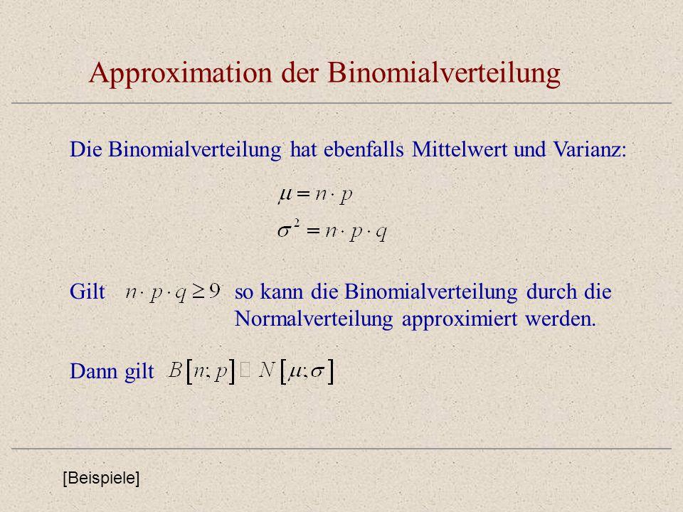 Approximation der Binomialverteilung Die Binomialverteilung hat ebenfalls Mittelwert und Varianz: Giltso kann die Binomialverteilung durch die Normalv