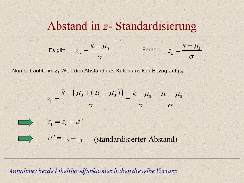 Abstand in z- Standardisierung Annahme: beide Likelihoodfunktionen haben dieselbe Varianz Nun betrachte im z 1 Wert den Abstand des Kriteriums k in Be