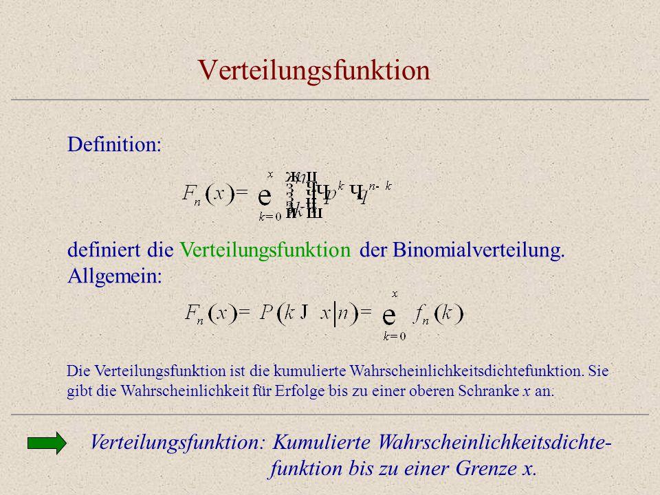 Verteilungsfunktion Verteilungsfunktion: Kumulierte Wahrscheinlichkeitsdichte- funktion bis zu einer Grenze x. Definition: definiert die Verteilungsfu