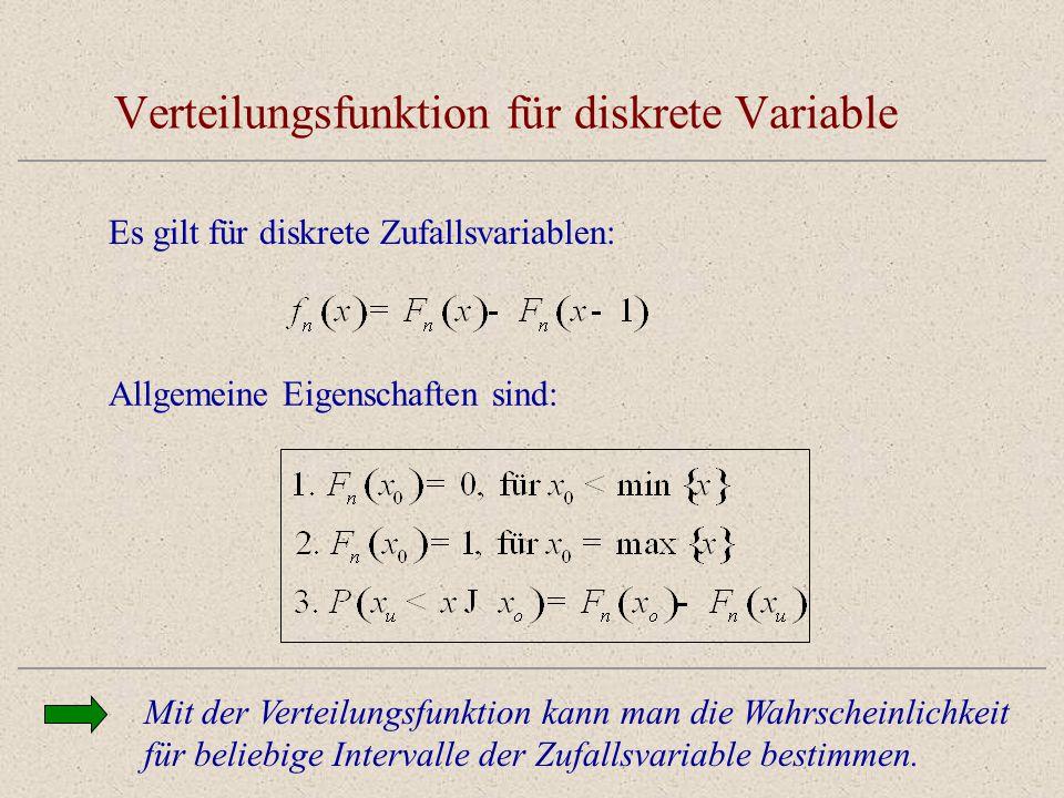Verteilungsfunktion für diskrete Variable Mit der Verteilungsfunktion kann man die Wahrscheinlichkeit für beliebige Intervalle der Zufallsvariable bes