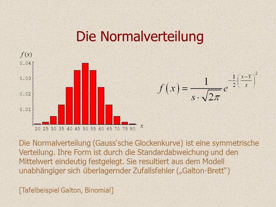Die Normalverteilung Die Normalverteilung (Gauss'sche Glockenkurve) ist eine symmetrische Verteilung. Ihre Form ist durch die Standardabweichung und d