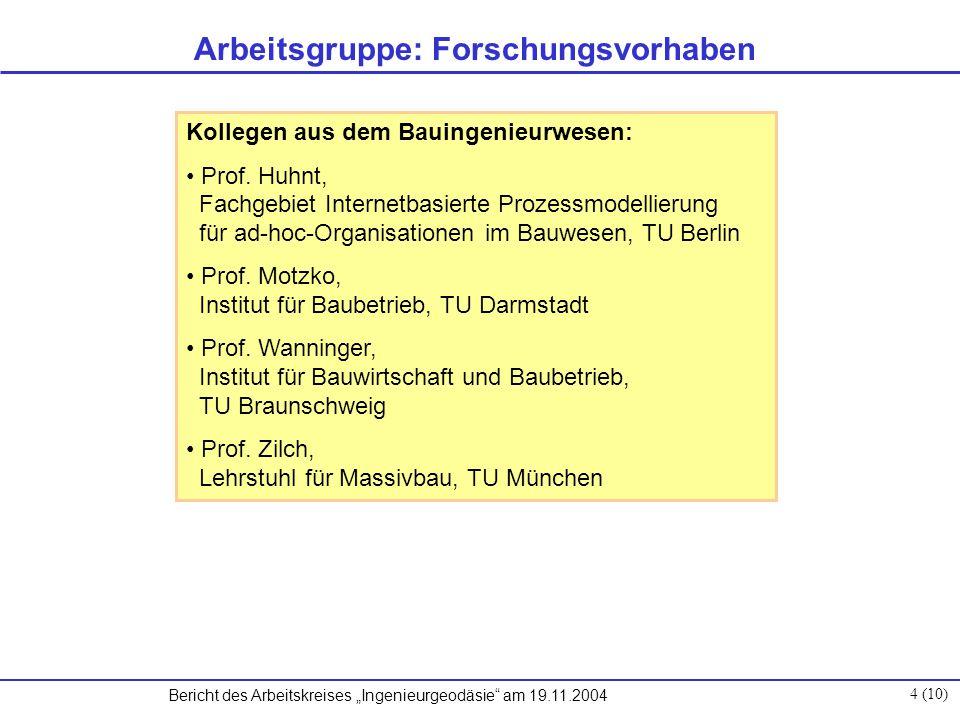 """Bericht des Arbeitskreises """"Ingenieurgeodäsie am 19.11.2004 4 (10) Kollegen aus dem Bauingenieurwesen: Prof."""