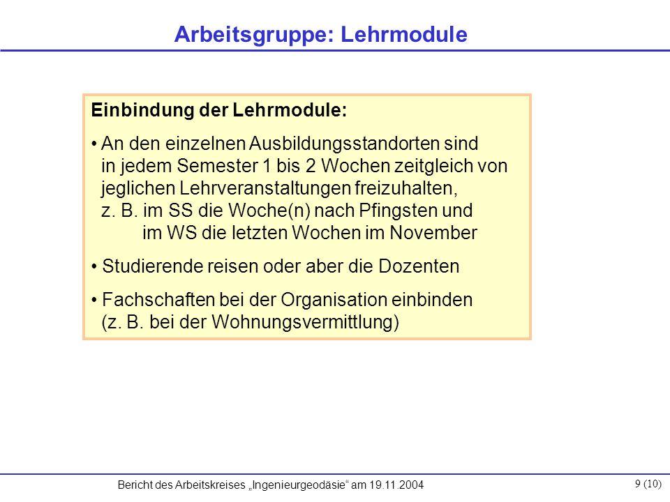 """Bericht des Arbeitskreises """"Ingenieurgeodäsie am 19.11.2004 10 (10) weitere Vorgehensweise: Prüfung, ob derartige Zeiten für Blockseminare an den Hochschulen eingerichtet werden können Absichtserklärung der DGK wäre hilfreich Gruppe öffnen für andere Interessenten Finanzierung: durch die Universitäten bzw."""