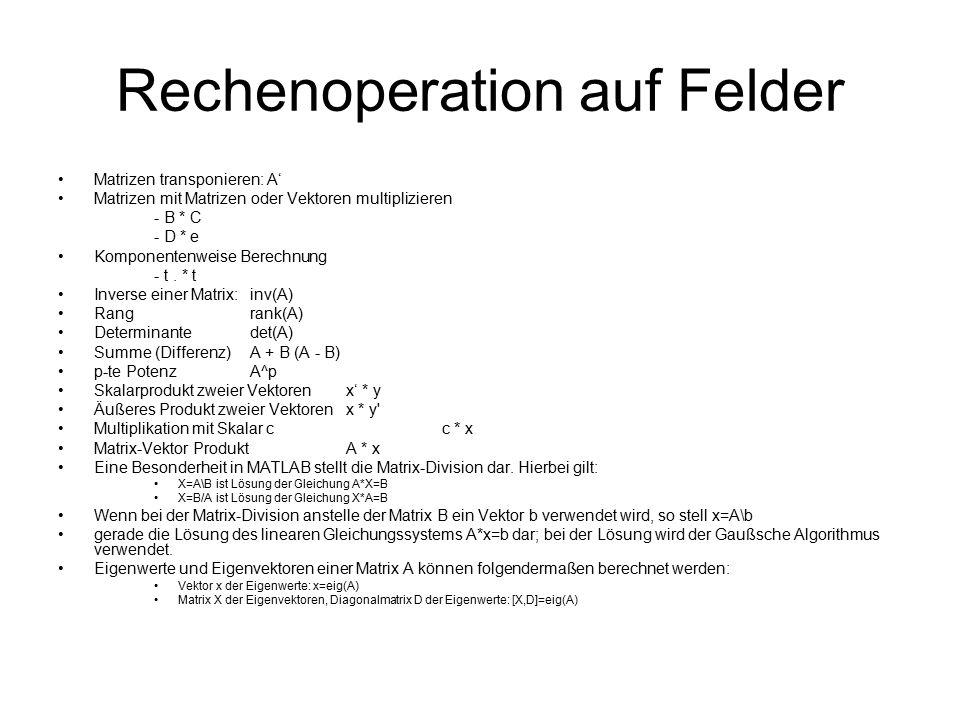 Rechenoperation auf Felder Matrizen transponieren: A' Matrizen mit Matrizen oder Vektoren multiplizieren - B * C - D * e Komponentenweise Berechnung -