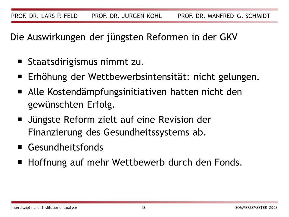 PROF. DR. LARS P. FELD PROF. DR. JÜRGEN KOHL PROF. DR. MANFRED G. SCHMIDT Interdisziplinäre Institutionenanalyse18SOMMERSEMESTER 2008 Die Auswirkungen