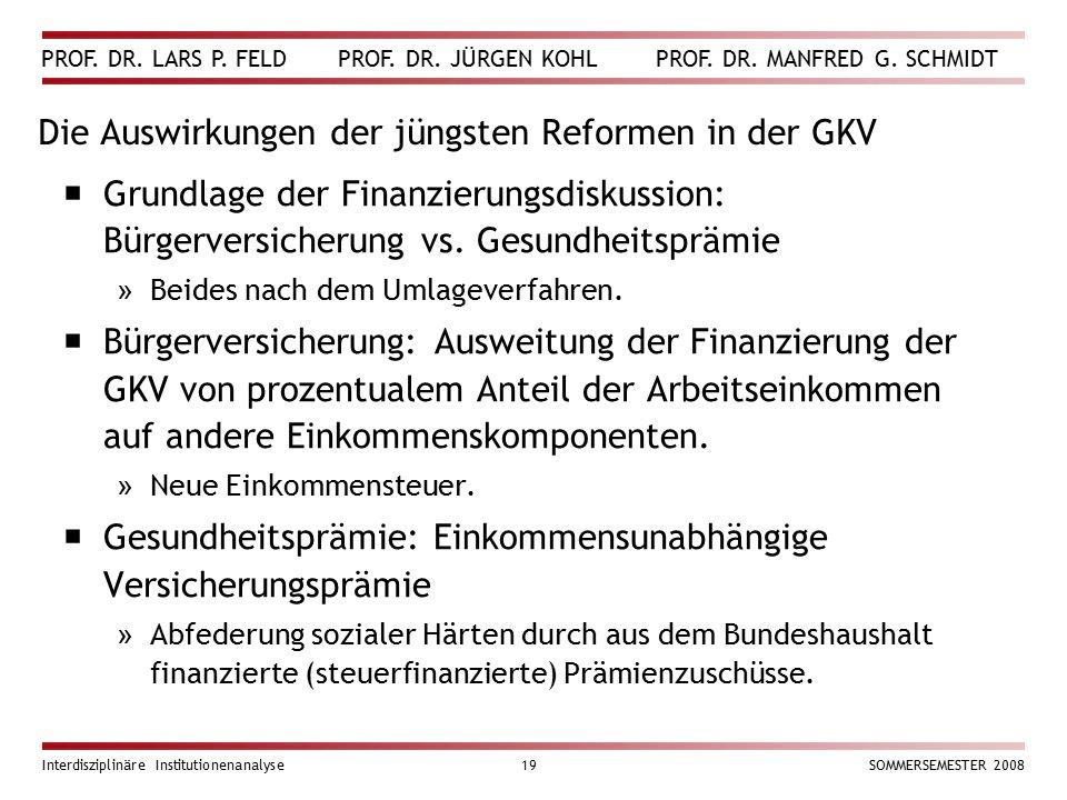 PROF. DR. LARS P. FELD PROF. DR. JÜRGEN KOHL PROF. DR. MANFRED G. SCHMIDT Interdisziplinäre Institutionenanalyse19SOMMERSEMESTER 2008 Die Auswirkungen