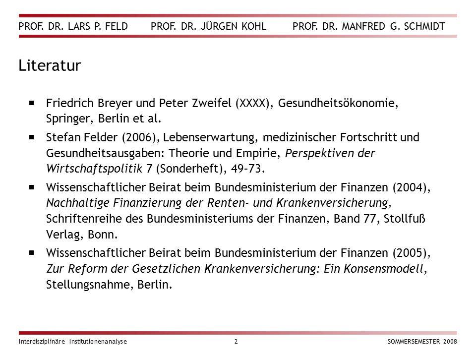 PROF. DR. LARS P. FELD PROF. DR. JÜRGEN KOHL PROF. DR. MANFRED G. SCHMIDT Interdisziplinäre Institutionenanalyse2SOMMERSEMESTER 2008 Literatur  Fried