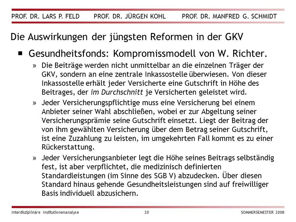 PROF. DR. LARS P. FELD PROF. DR. JÜRGEN KOHL PROF. DR. MANFRED G. SCHMIDT Interdisziplinäre Institutionenanalyse20SOMMERSEMESTER 2008 Die Auswirkungen