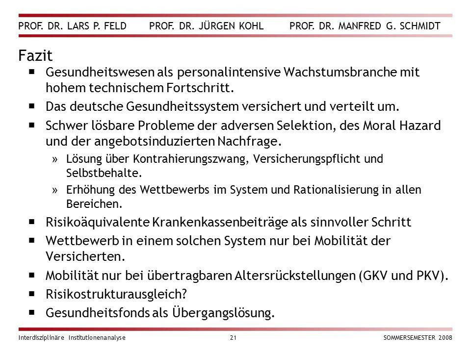 PROF. DR. LARS P. FELD PROF. DR. JÜRGEN KOHL PROF. DR. MANFRED G. SCHMIDT Interdisziplinäre Institutionenanalyse21SOMMERSEMESTER 2008 Fazit  Gesundhe