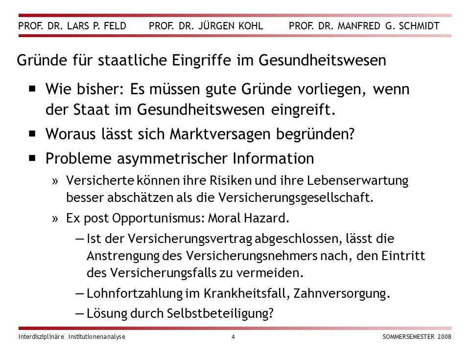 PROF. DR. LARS P. FELD PROF. DR. JÜRGEN KOHL PROF. DR. MANFRED G. SCHMIDT Interdisziplinäre Institutionenanalyse4SOMMERSEMESTER 2008 Gründe für staatl