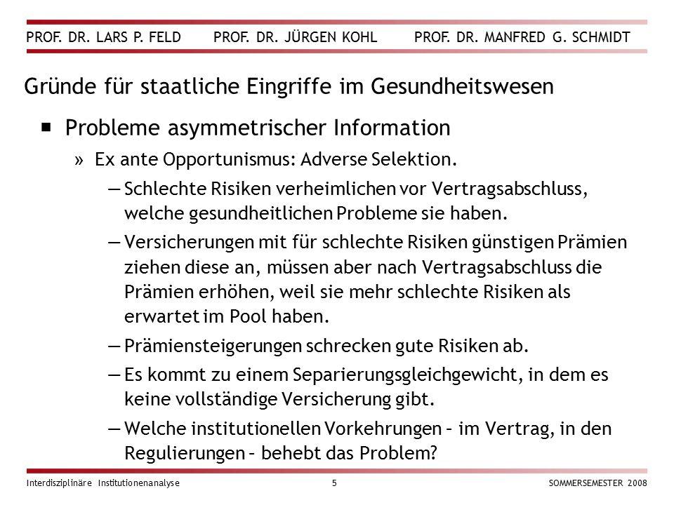 PROF. DR. LARS P. FELD PROF. DR. JÜRGEN KOHL PROF. DR. MANFRED G. SCHMIDT Interdisziplinäre Institutionenanalyse5SOMMERSEMESTER 2008 Gründe für staatl