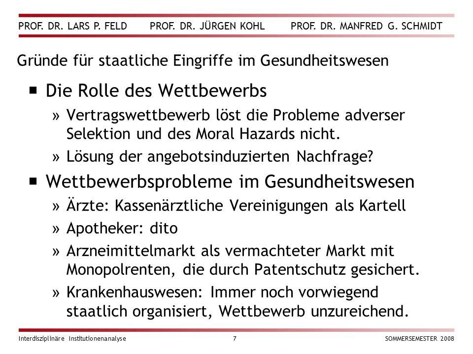 PROF. DR. LARS P. FELD PROF. DR. JÜRGEN KOHL PROF. DR. MANFRED G. SCHMIDT Interdisziplinäre Institutionenanalyse7SOMMERSEMESTER 2008 Gründe für staatl