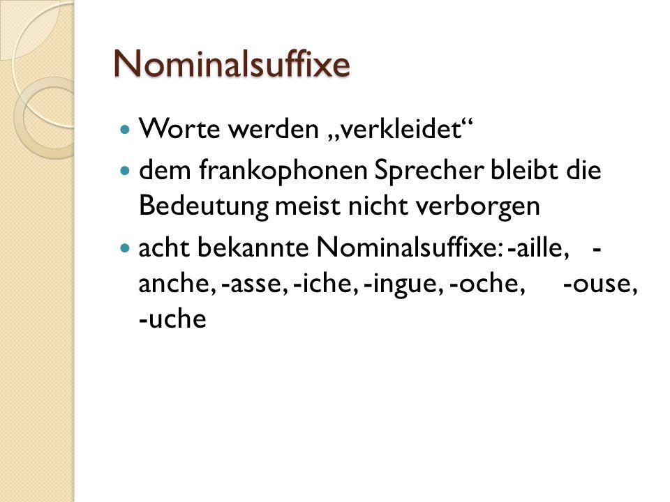 """Nominalsuffixe Worte werden """"verkleidet dem frankophonen Sprecher bleibt die Bedeutung meist nicht verborgen acht bekannte Nominalsuffixe: -aille, - anche, -asse, -iche, -ingue, -oche, -ouse, -uche"""