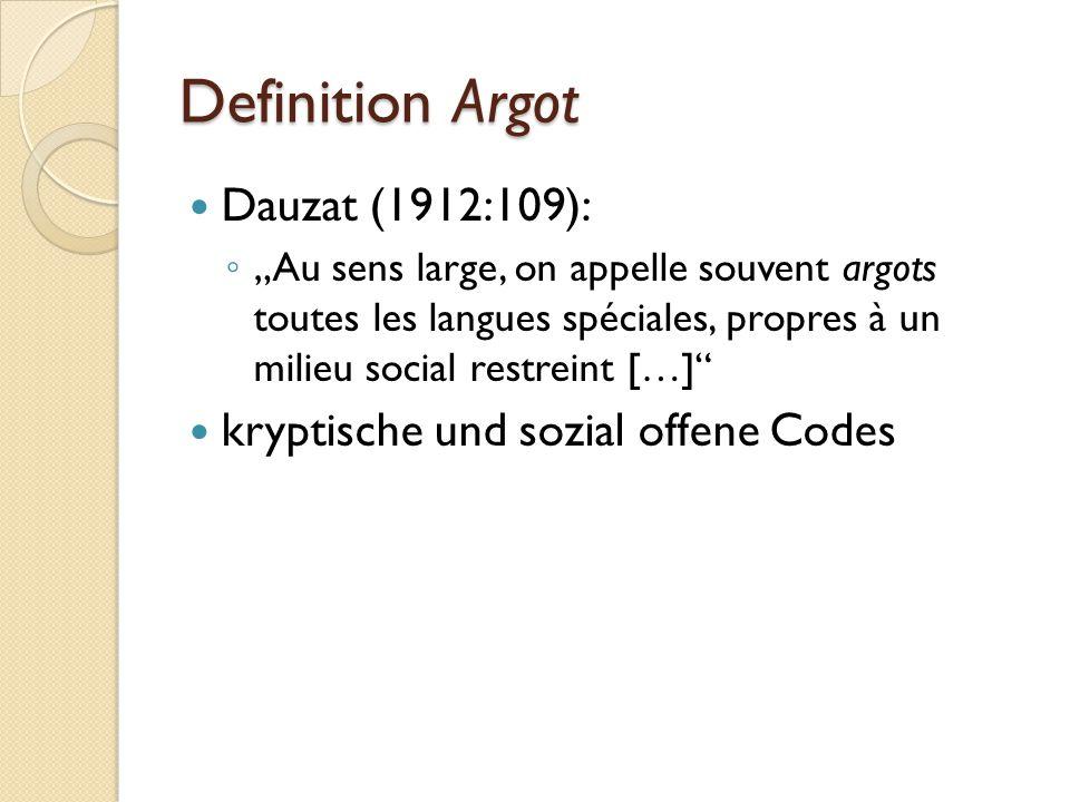"""Polysemie """"Argot Polysemie führt dazu, dass eine Reihe von Bezeichnungen für bestimmte Erscheinungsformen des Argot partiell synonym werden: ◦ javanais, argonji und verlan betonen den kryptischen Gebrauch ◦ jobelin, blesquin und loucherbem beziehen sich auf soziale Besonderheiten"""