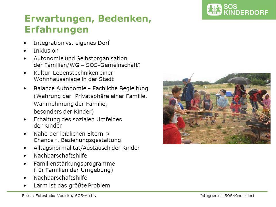 Fotos: Fotostudio Vodicka, SOS-Archiv Integriertes SOS-Kinderdorf Erwartungen, Bedenken, Erfahrungen Integration vs. eigenes Dorf Inklusion Autonomie